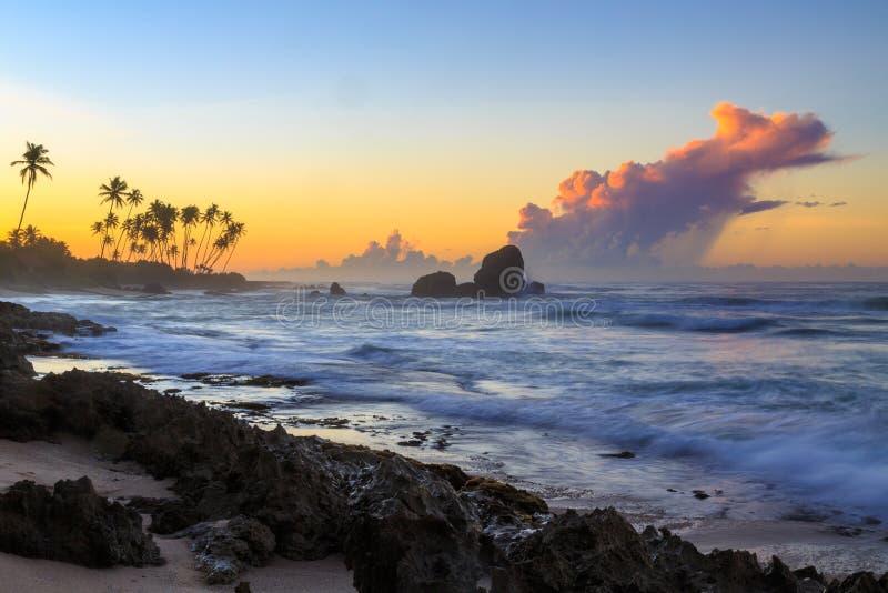 Alba ad una spiaggia rocciosa con le nuvole porpora immagine stock
