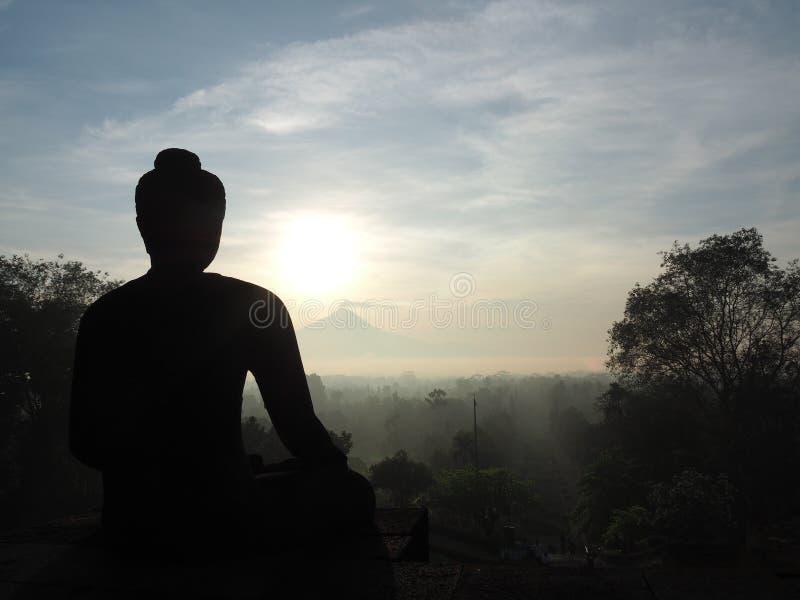 Alba al tempio del borobudur fotografie stock