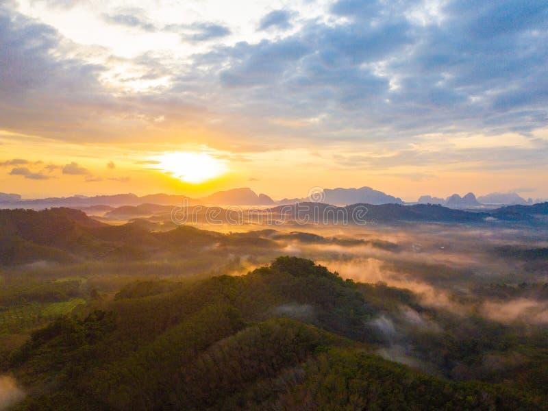 Alba alla provincia di nga di Tun Viewpoint Phang di tum di Phu fotografia stock libera da diritti