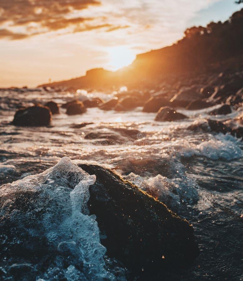 Alba alla testa di Fingal, la Gold Coast fotografie stock libere da diritti