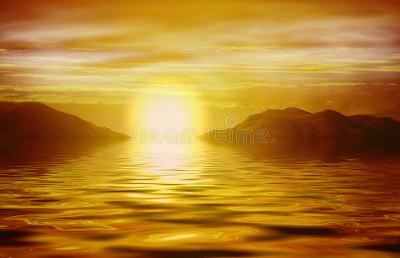 Alba Arancione Sopra L Oceano Immagine Stock
