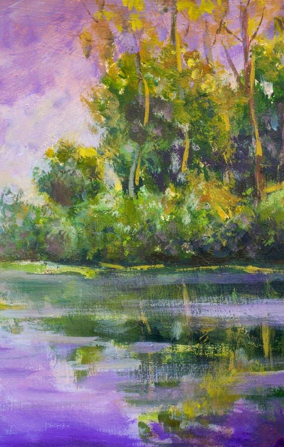 Alba calda viola di tramonto della pittura a olio originale sopra il lago Paesaggio rurale di estate Gli alberi sono riflessi in  fotografie stock