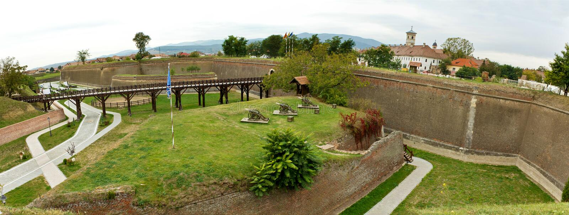alba carolina cetatea de fästning iuliala royaltyfri fotografi