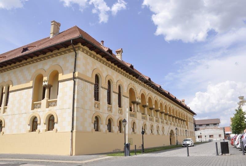 Alba Carolina,June 15:Headquarter of Coronation Cathedral from Alba Carolina Fortress in Romania stock images