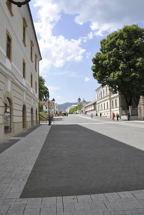Alba Carolina,june 15:Main street from Alba Carolina Fortress courtyard in Romania stock photo