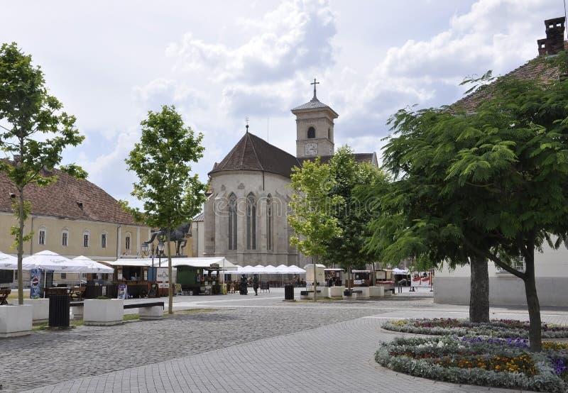 Alba Carolina,June 15:St Michael Cathedral square from Alba Carolina Fortress in Romania stock photography