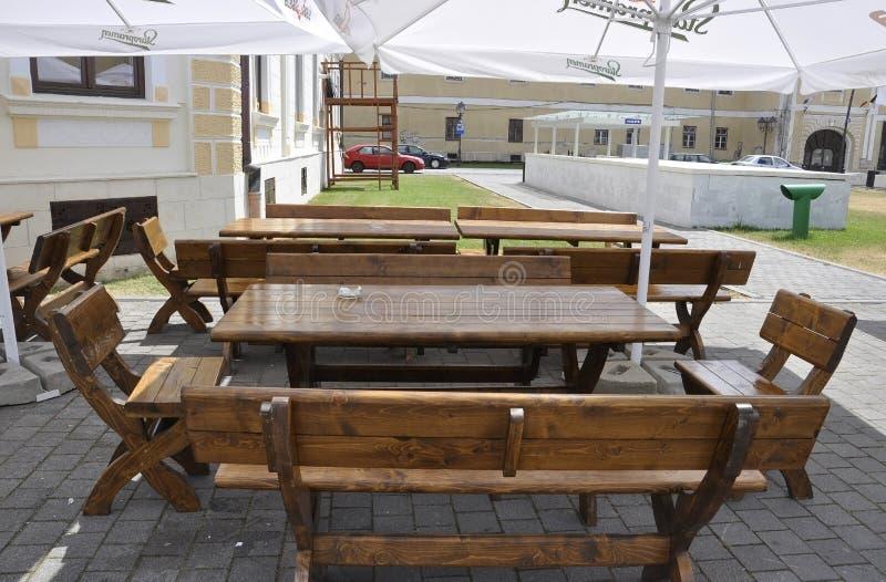 Alba Carolina,June 15:Terrace table from Alba Carolina courtyard in Romania stock photography