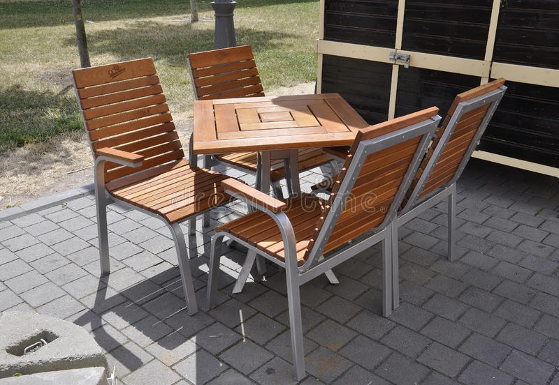 Alba Carolina,June 15:Terrace table from Alba Carolina courtyard in Romania royalty free stock image