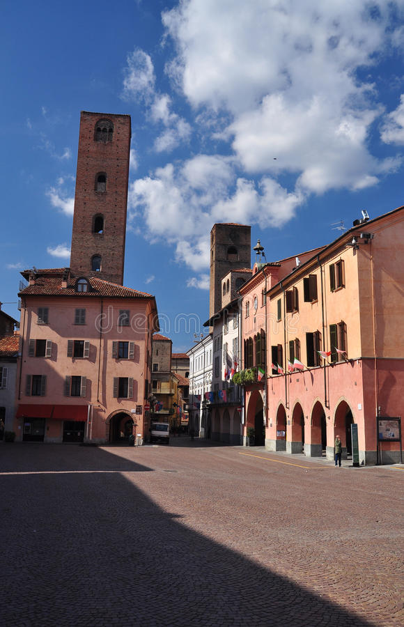 Alba central square, province of Cuneo, Piemonte, Italy. The central square in the pedestrian area of the Italian city of Alba. Region of Piemonte, province of stock image