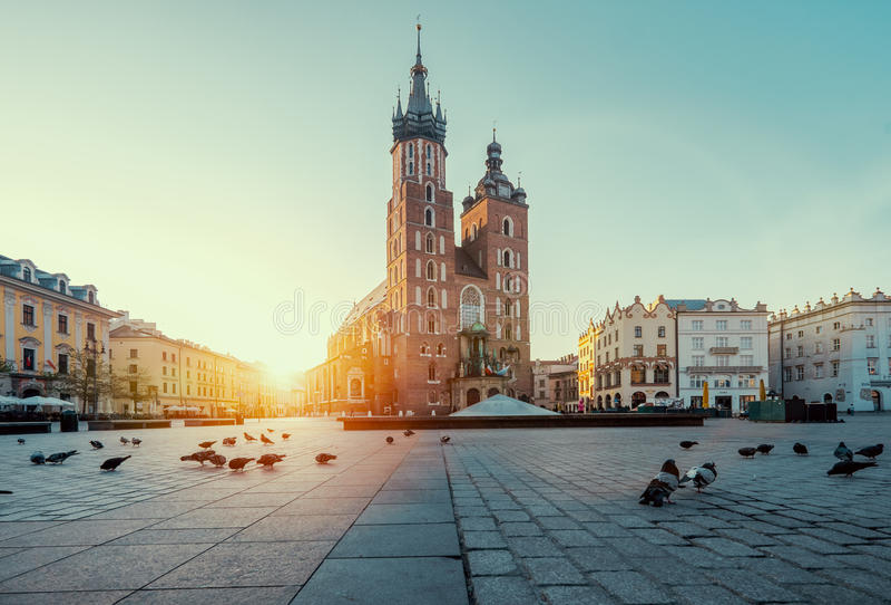 Alba a Cracovia poland fotografia stock