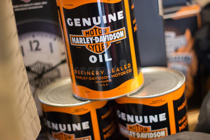Harley Davidson , oil can in show room. stock photos