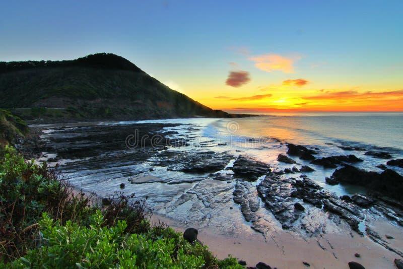 Alba dalla grande strada dell'oceano, Victoria, Australia immagini stock libere da diritti