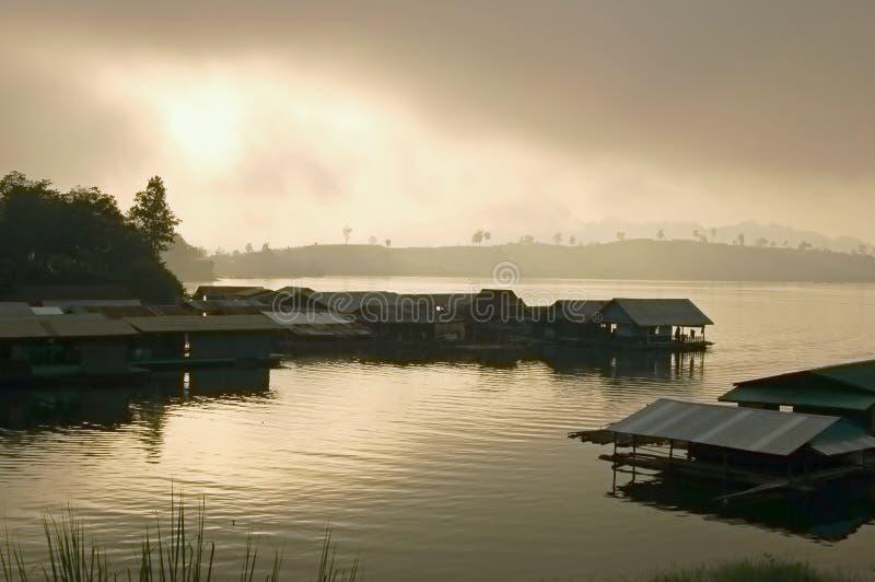 Alba del lago fotografia stock