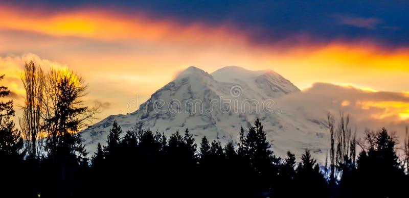 Alba del monte Rainier fotografia stock libera da diritti