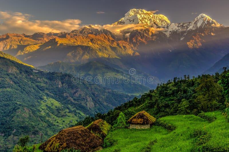 Alba del sud di Annapurna fotografia stock libera da diritti
