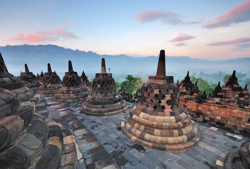Alba del tempio di Borobudur immagine stock