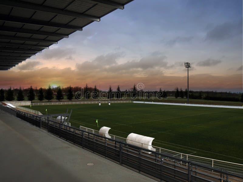 Alba dello stadio di rugby immagine stock