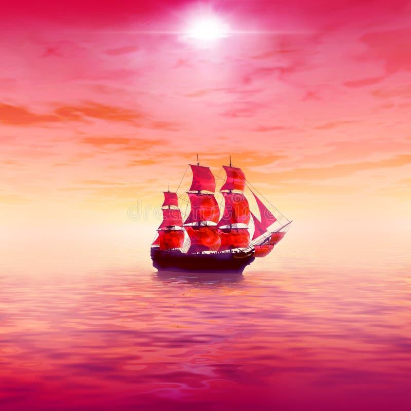 Alba dentellare Nave di navigazione sola royalty illustrazione gratis