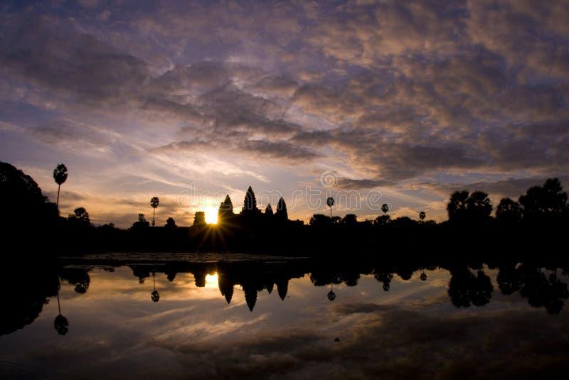 Alba di Angkor Wat fotografia stock