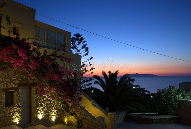 Alba di fiaba in Kamari, Santorini immagine stock libera da diritti