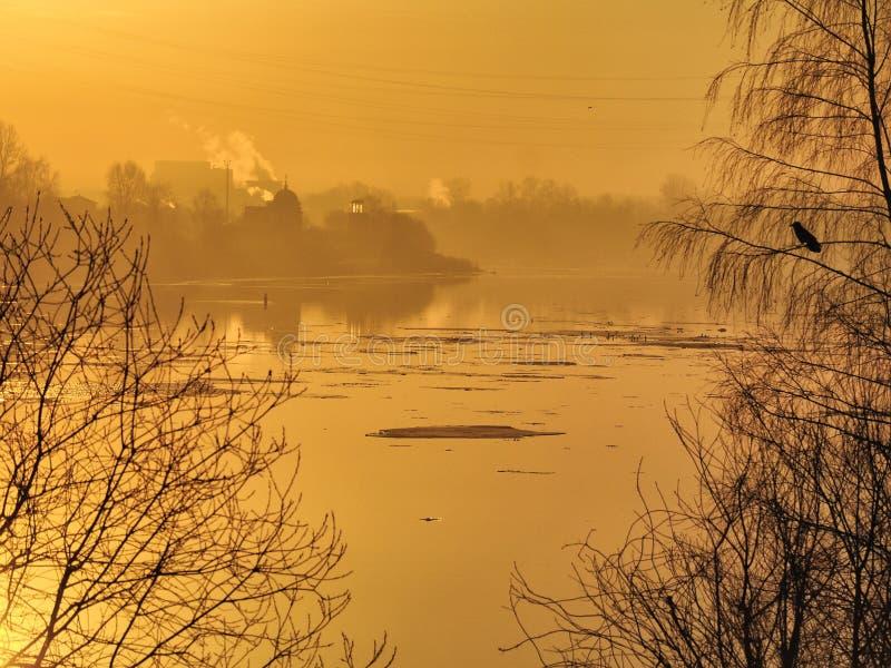 Alba di Frosty March sulle banche del fiume di Neva immagini stock libere da diritti