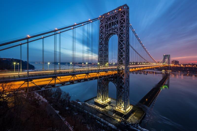 Alba di George Washington Bridge immagini stock