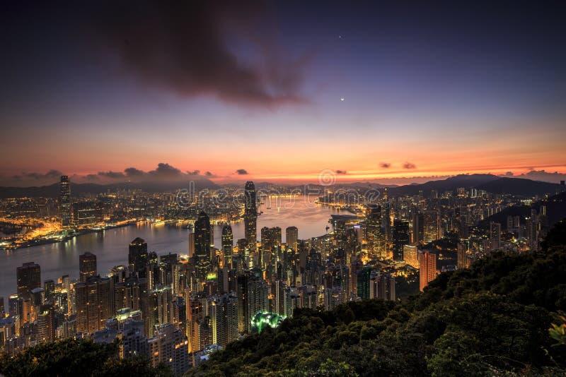 Alba di Hong Kong fotografie stock libere da diritti