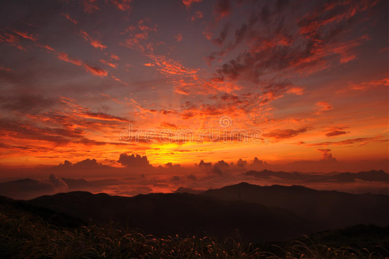 Alba di Tai Mo Mountain immagine stock libera da diritti