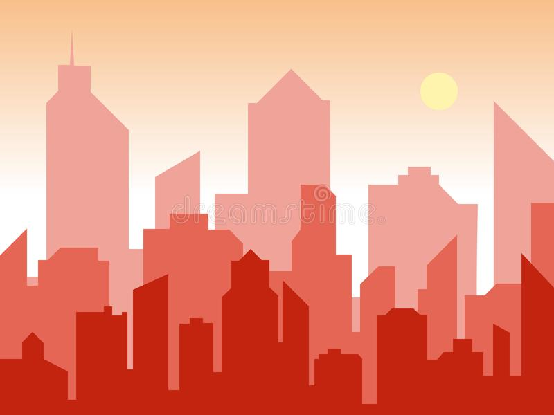 Alba e città moderna della siluetta nello stile piano di arte Fondo di progettazione del libro dei fumetti Stile dell'illustrazio royalty illustrazione gratis