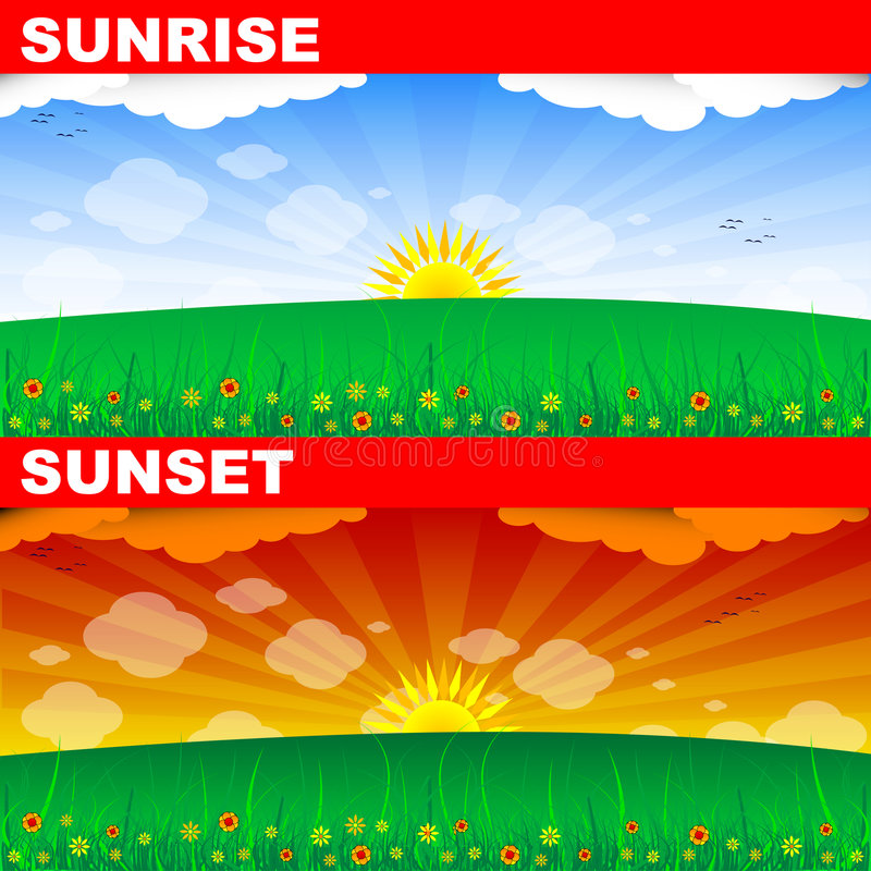 Alba e tramonto royalty illustrazione gratis