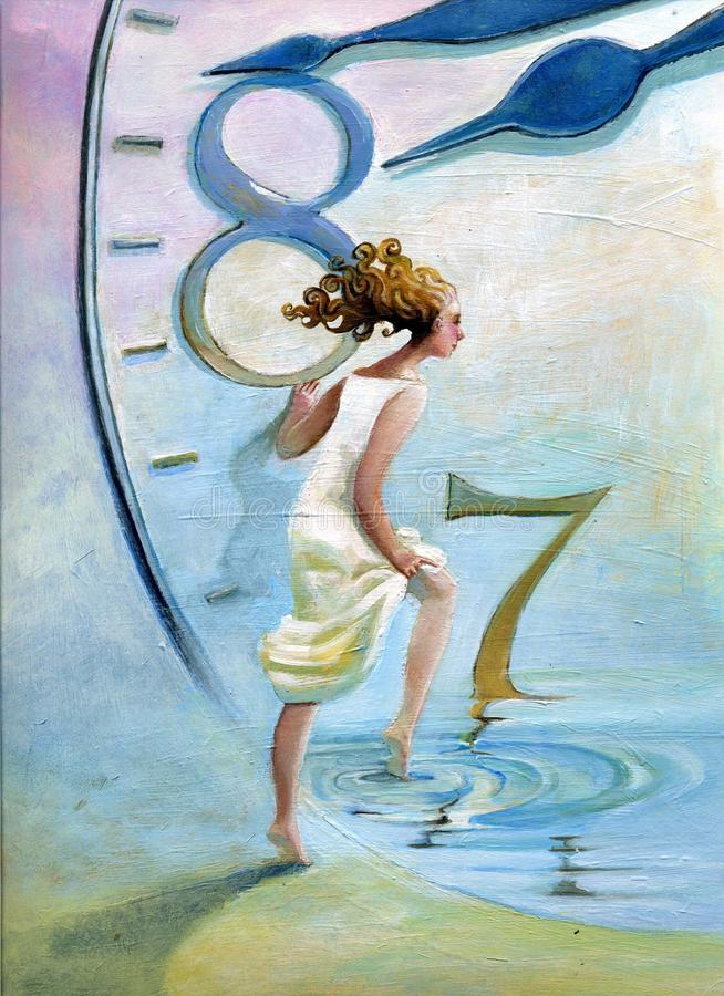 Alba surreal woman in time stock illustration