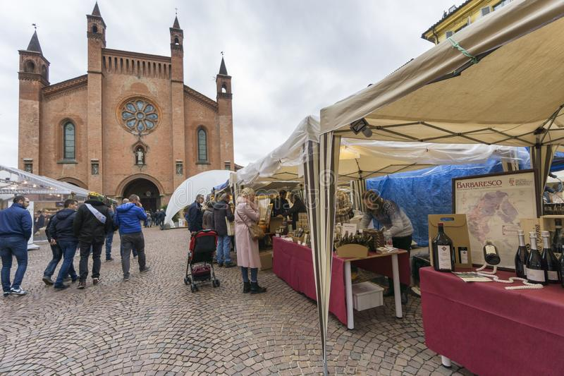 Tourists at the Truffle mushrooms fair and street market of Alba, Piedmont. stock photography