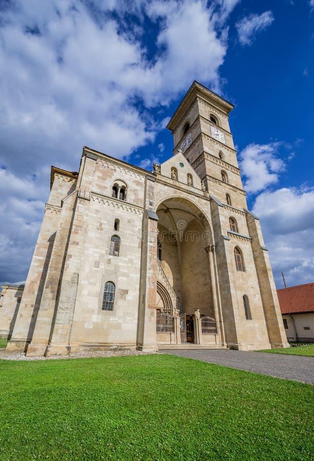 Alba Iulia Cathedral. St. Michael's Cathedral in Citadel of Alba Iulia city in Romania stock photos