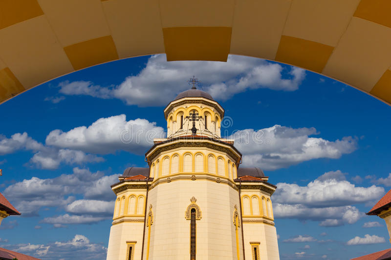 Alba Iulia coronation cathedral. Dedicated to the Holy Trinity was built with the support of the Royal House of Romania royalty free stock photo