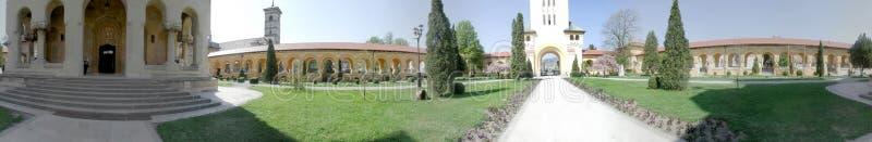 Alba Iulia Coronation domkyrka, 360 grader panorama arkivfoton