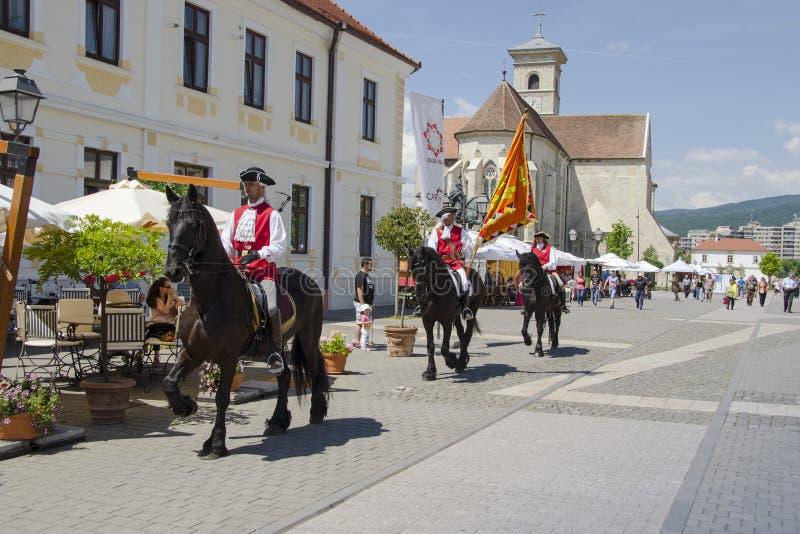 Alba iulia fortress. Horsemen marching in alba iulia fortress, romania royalty free stock photo