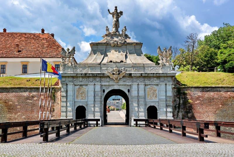 Alba Iulia Fortress, Romania. Main gate and bridge in medieval fortress Alba Iulia, Romania royalty free stock photo
