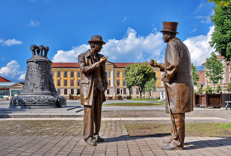 Alba Iulia, Romania. Fortress square with bell monument and talking statues in Alba Iulia, Romania royalty free stock photo