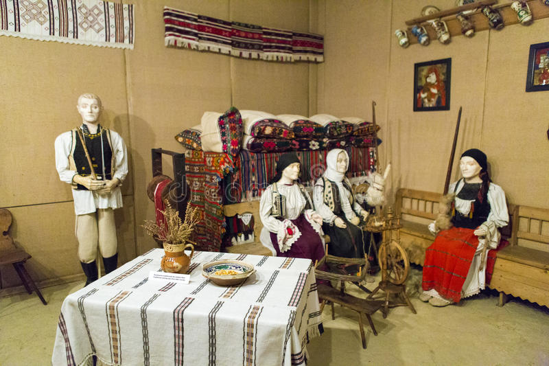Alba Iulia landmarks - Union Museum. Sewing bee scene from Union Museum from Alba Iulia, Romania royalty free stock photos