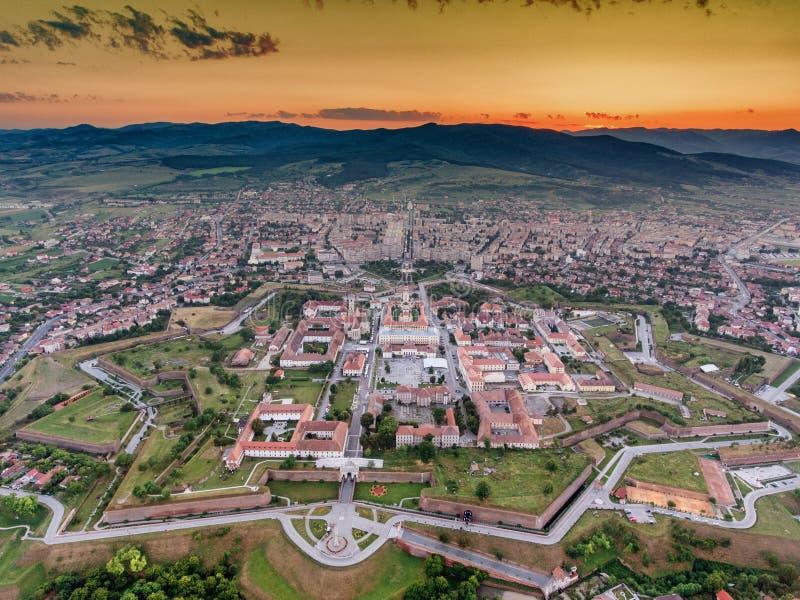 Alba Iulia medieval fortress aerial view at sunset. In Transylvania, Romania royalty free stock photos