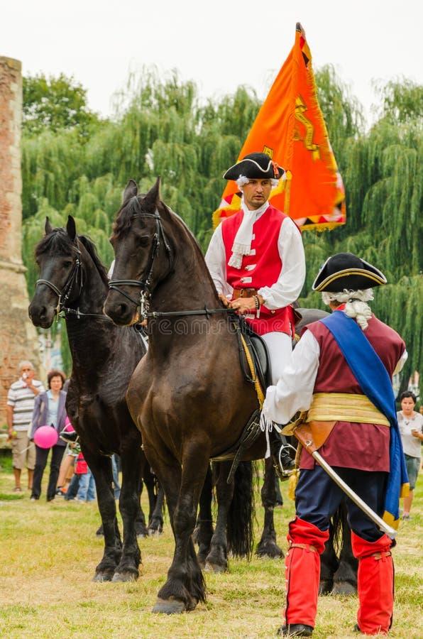 Alba Iulia-ruiterwacht bij het Festival van Vestingstoernooien in Fagaras royalty-vrije stock afbeelding