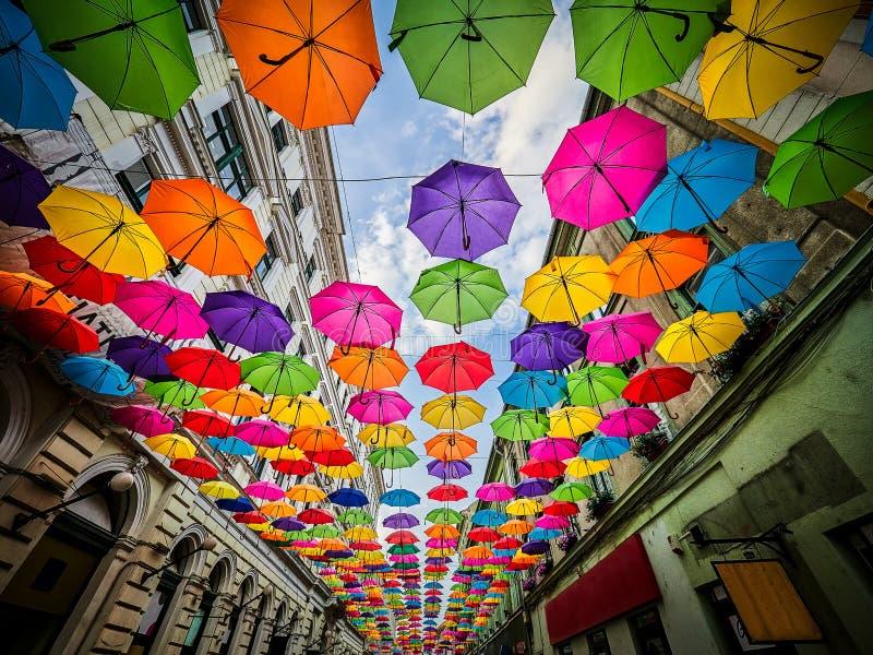 The Alba Iulia street decorated with umbrellas in Timisoara, Romania.  stock photos