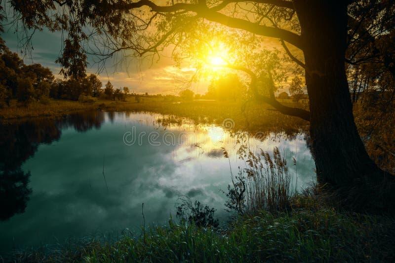Alba magica sopra il lago immagini stock