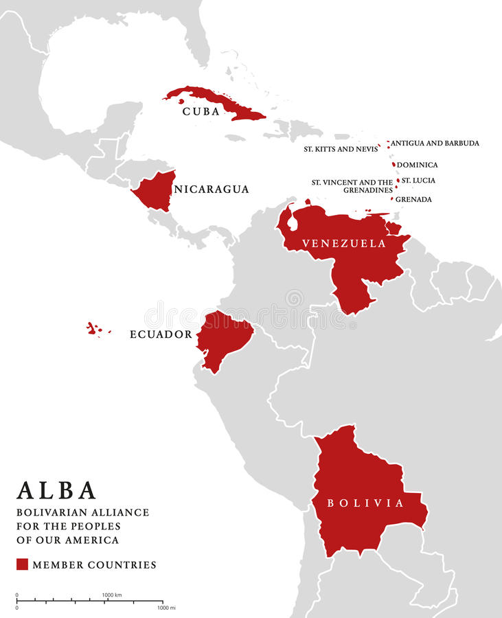 ALBA, member countries info map royalty free illustration