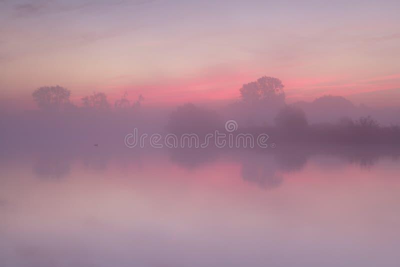 Alba nebbiosa rossa sopra il lago calmo fotografia stock libera da diritti