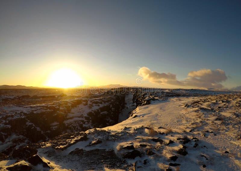 Alba nel parco nazionale di Pingvellir, Islanda immagini stock libere da diritti