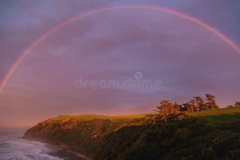 Alba nella riserva scenica della spiaggia folta in Oamaru, Nuova Zelanda fotografie stock libere da diritti