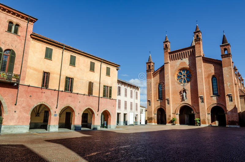 Alba piedmont, Italy, Piazza Risorgimento. Piazza Risorgimento, main square of Alba Piedmont, Italy with Saint Lawrence cathedral royalty free stock image