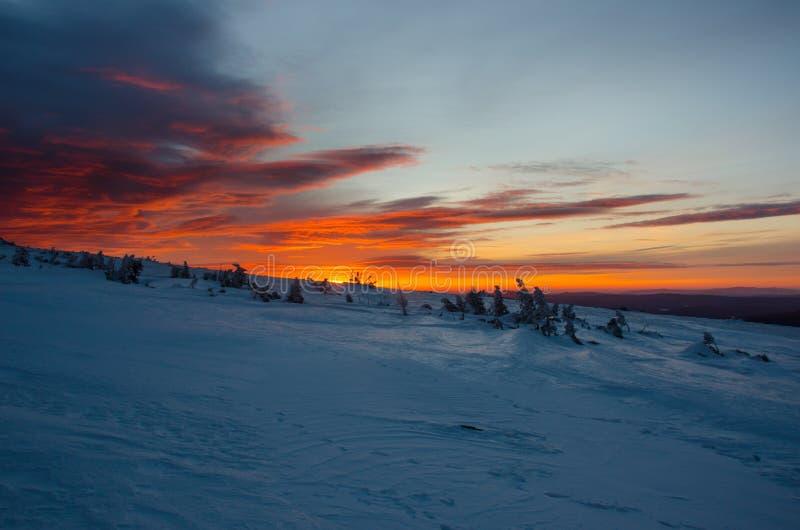 Alba sopra il plateau del campo di neve fotografie stock libere da diritti