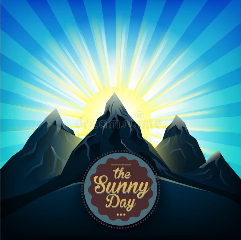 Alba sopra il vettore luminoso del sole delle montagne royalty illustrazione gratis